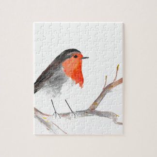 Robin watercolour painting Christmas art Jigsaw Puzzle