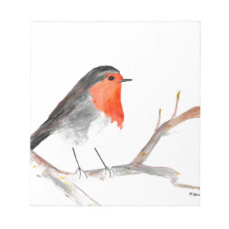 Robin watercolour painting Christmas art Notepad
