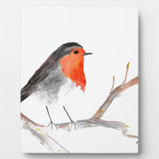 Robin watercolour painting Christmas art Plaque