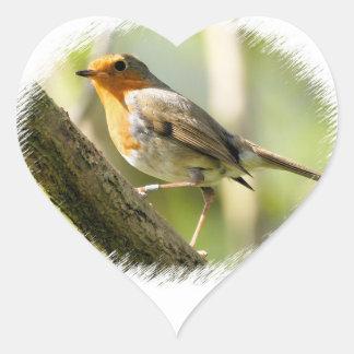 Robin Wild-life Bird Heart Sticker