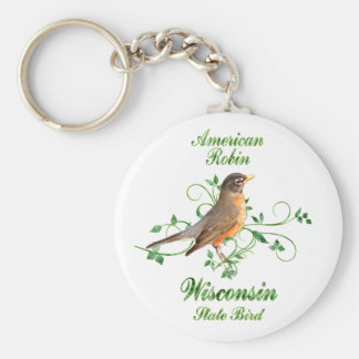 Robin Wisconsin State Bird Key Ring