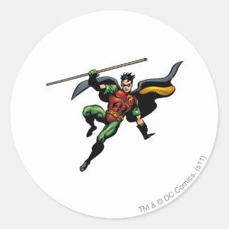 Robin with Staff Classic Round Sticker