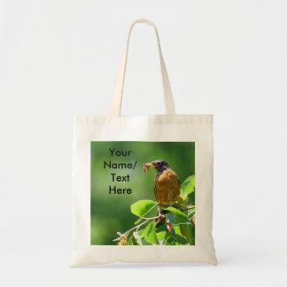 Robin With Worm Canvas Bag