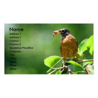 Robin With Worm Business Card Template