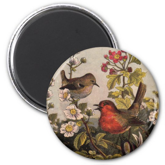 Robins 6 Cm Round Magnet