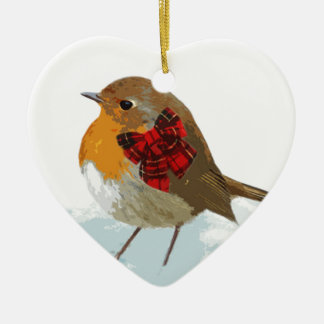Robins  and Christmas Tartan Bow in Snow Christmas Ornament