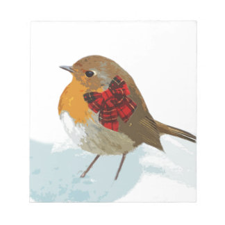 Robins  and Christmas Tartan Bow in Snow Notepad