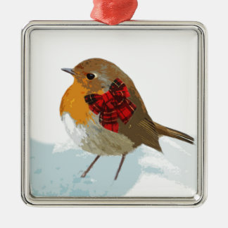 Robins  and Christmas Tartan Bow in Snow Silver-Colored Square Decoration