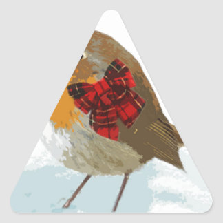 Robins  and Christmas Tartan Bow in Snow Triangle Sticker