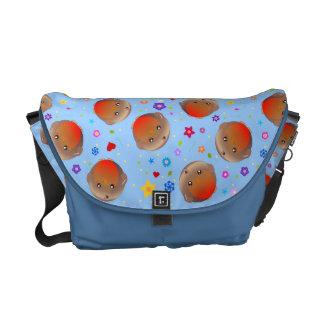 Robins and flowers design  - blue bag commuter bag