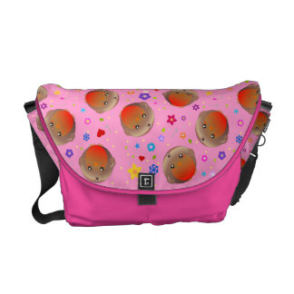 Robins and flowers design  - pink girls school bag courier bag