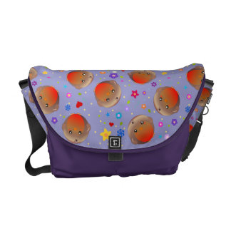 Robins and flowers design  - purple bag courier bag
