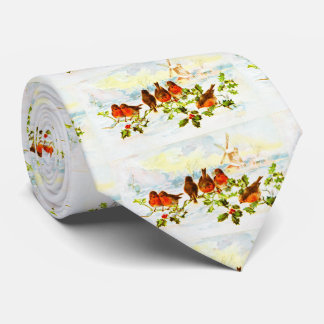 Robins and holly tie