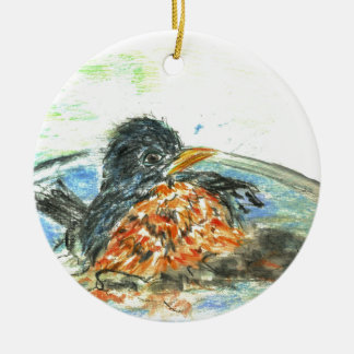 Robin's Bird Bath Christmas Ornament