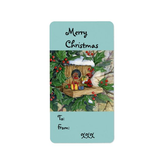 """Robin's Christmas"" Tag-label Address Label"