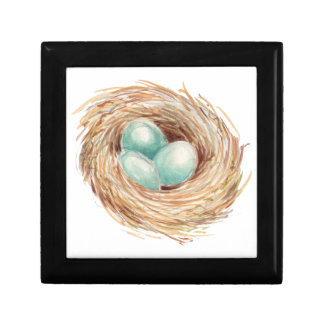 Robin's Egg Bird Nest Watercolor Small Square Gift Box