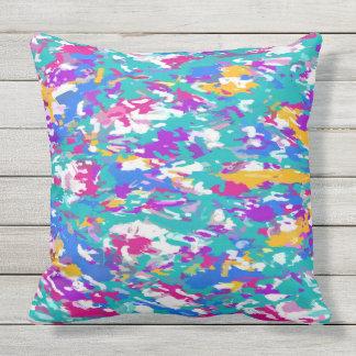 Robin's Egg Blue and Fuchsia Spin Art 3987 Outdoor Cushion