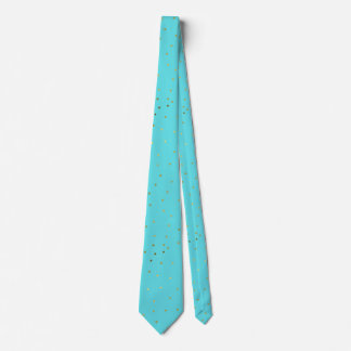Robins Egg Blue and Gold Polka Dot Neck Tie