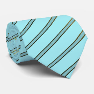 Robins Egg Blue and Gold Striped Pattern Neck Tie