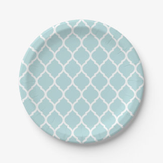 Robins Egg Blue and White Moroccan Quatrefoil Paper Plate