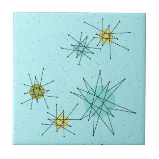 Robin's Egg Blue Atomic Starbursts Ceramic Tile