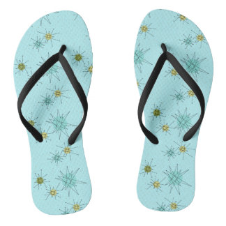 Robin's Egg Blue Atomic Starbursts Flip Flops