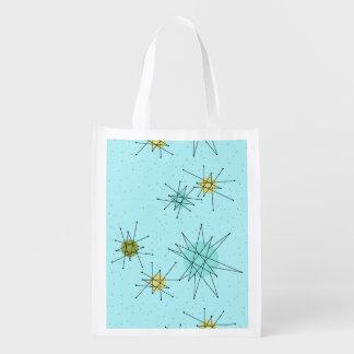 Robin's Egg Blue Atomic Starbursts Grocery Bag