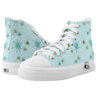 Robin's Egg Blue Atomic Starbursts High Tops Printed Shoes