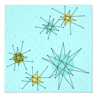 Robin's Egg Blue Atomic Starbursts Invitations