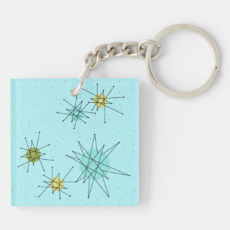 Robin's Egg Blue Atomic Starbursts Keychain