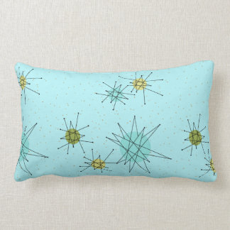 Robin's Egg Blue Atomic Starbursts Lumbar Pillow