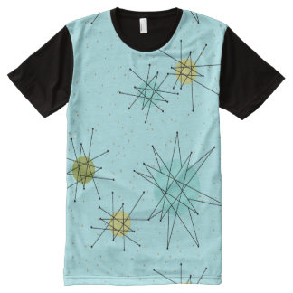 Robin's Egg Blue Atomic Starbursts Panel T-Shirt All-Over Print T-Shirt