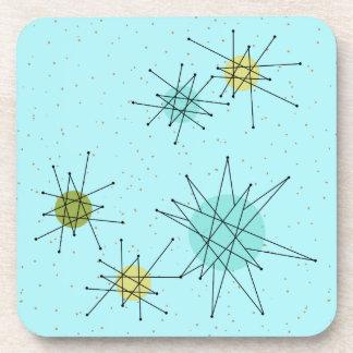 Robin's Egg Blue Atomic Starbursts Plastic Coaster