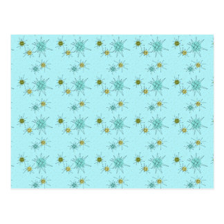 Robin's Egg Blue Atomic Starbursts Postcard