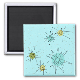 Robin's Egg Blue Atomic Starbursts Square Magnet