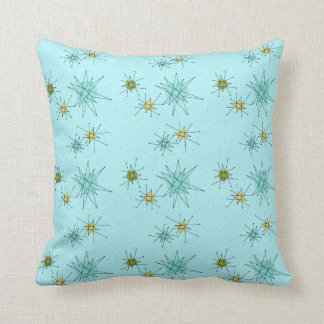 Robin's Egg Blue Atomic Starbursts Throw Pillow