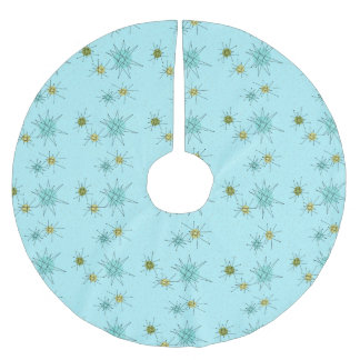 Robin's Egg Blue Atomic Starbursts Tree Skirt Brushed Polyester Tree Skirt