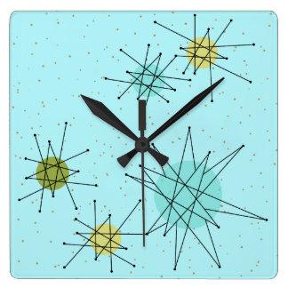 Robin's Egg Blue Atomic Starbursts Wall Clock