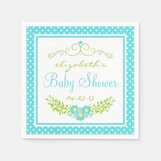Robins Egg Blue Baby Shower- Floral Disposable Napkins