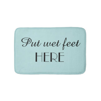 Robins Egg Blue & Black Funny Plush Bath Mat