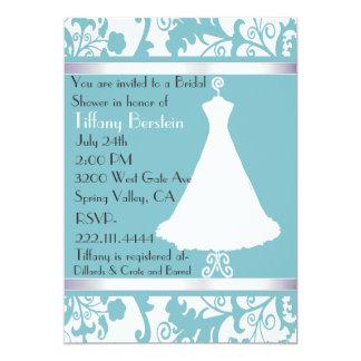 Robin's Egg Blue Damask Bridal Shower Invitation