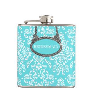 Robins Egg Blue Damask- Wedding Flasks