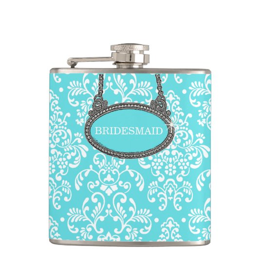 Robins Egg Blue Damask- Wedding Flasks