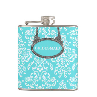 Robins Egg Blue Damask- Wedding Hip Flasks