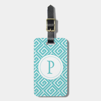Robins Egg Blue Greek Spirals Luggage Tag