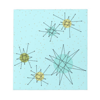 Robin's Egg Blue Iconic Atomic Starbursts Notepad