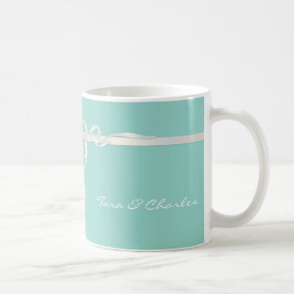 Robin's Egg Blue Jewelry Box with White Ribbon Coffee Mug