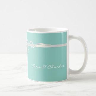 Robin's Egg Blue Jewelry Box with White Ribbon Coffee Mug
