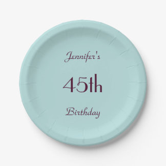 Robin's Egg Blue Paper Plates 45th Birthday Party 7 Inch Paper Plate