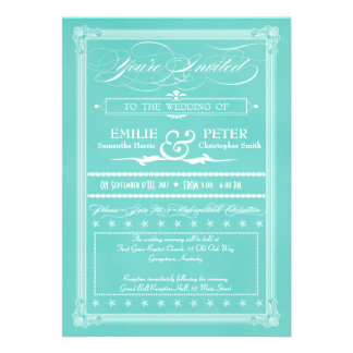 Robin's Egg Blue Poster Style Wedding Invitations